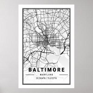 Póster Baltimore Maryland USA City Travel City Map