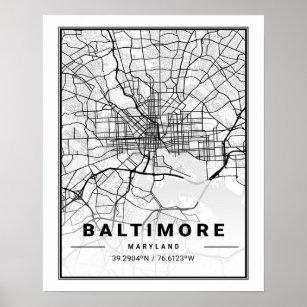 Póster Baltimore Maryland USA Travel City Map