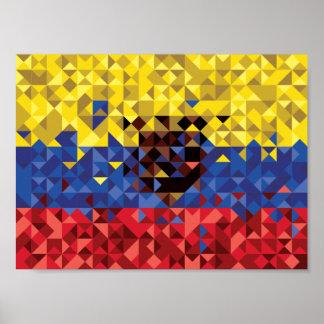 Póster Bandera abstracta de Ecuador, república del poster