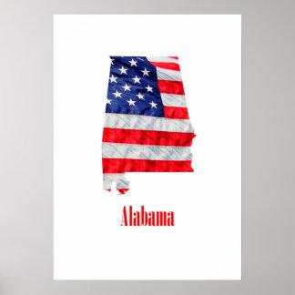 Póster Bandera americana Alabama Estados Unidos