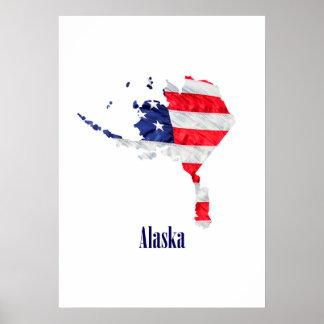 Póster Bandera americana Alaska Estados Unidos