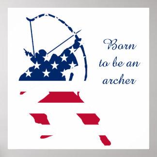 Póster Bandera americana del archer del tiro al arco de