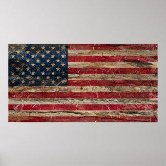 Póster Bandera americana del vintage de madera