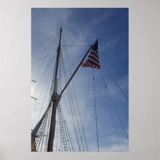 Póster Bandera americana en el mar