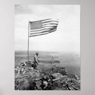 Póster Bandera americana que vuela sobre el soporte