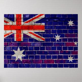 Póster Bandera de Australia en una pared de ladrillo