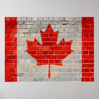 Póster Bandera de Canadá en una pared de ladrillo