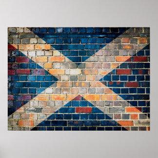 Póster Bandera de Escocia en una pared de ladrillo