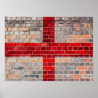 Póster Bandera de Inglaterra en una pared de ladrillo