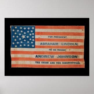 Póster Bandera de la bandera de la campaña de Lincoln