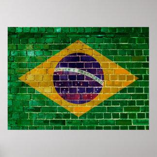Póster Bandera del Brasil en una pared de ladrillo
