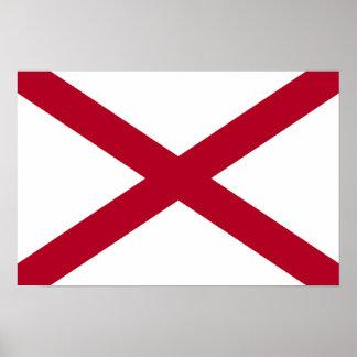 Póster Bandera del estado de Alabama