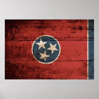 Póster Bandera del estado de Tennessee en grano de madera