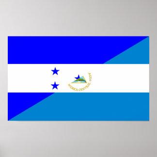 Póster bandera del país de Honduras Nicaragua media