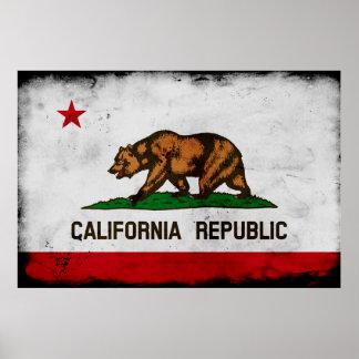Póster Bandera patriótica del estado de California del