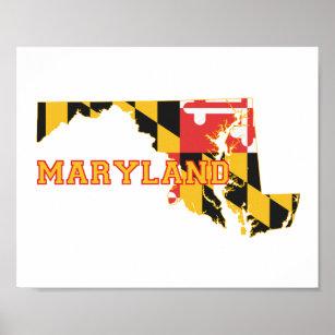 Póster Bandera y mapa del estado de Maryland