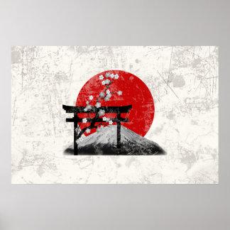 Póster Bandera y símbolos de Japón ID153