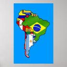 Póster Banderas suramericanas del mapa de la bandera de