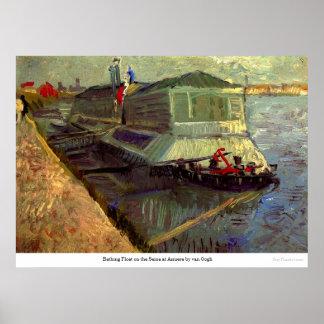 Póster Baño del flotador en el Sena en Asniere de Van
