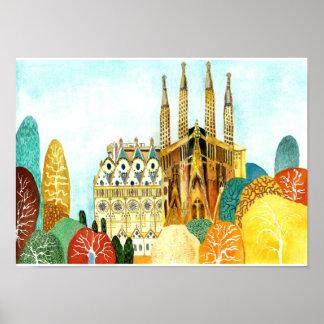 Póster Barcelona de Gaudi