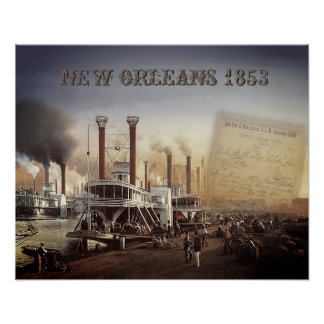 Póster Barco de vapor de New Orleans