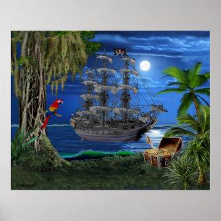 Póster Barco pirata iluminado por la luna místico