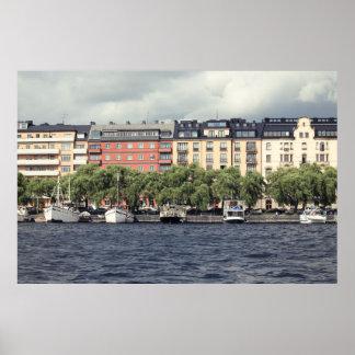 Póster Barcos y casas en Estocolmo