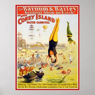 Poster Barnum y agua Coney Island del circo de Bai