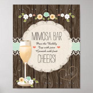 Póster Barra nupcial del Mimosa de la ducha del boda