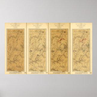 Póster Batalla del campo de Gettysburg del mapa de