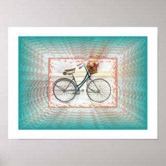 Póster Bici retra con la cesta, mirada del infinito