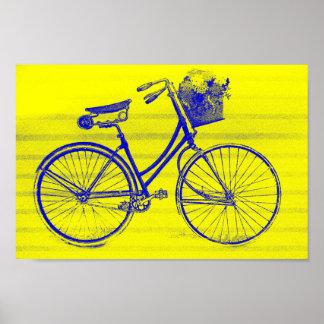 Póster Bicicleta retra azul con la cesta