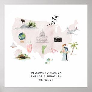 Póster Bienvenida a la boda de destino Watercolor Florida