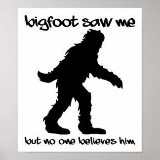 Póster Bigfoot me vio poster divertido