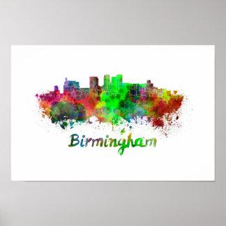 Póster Birmingham skyline in watercolor
