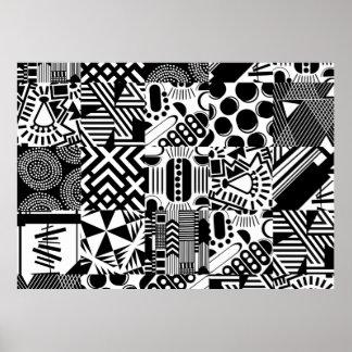 Poster blanco negro moderno geométrico del estilo