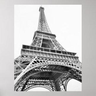Poster blanco y negro de la torre Eiffel Póster
