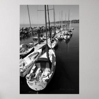 Poster blanco y negro de los veleros