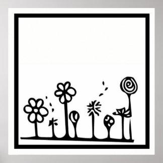 Poster blanco y negro del dibujo de la flor póster