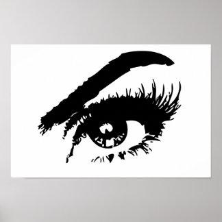 Poster blanco y negro del ojo póster