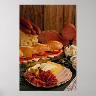 Póster Bocadillo submarino delicioso con las carnes y el