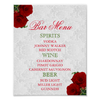 Póster Boda floral color de rosa de color rojo oscuro -