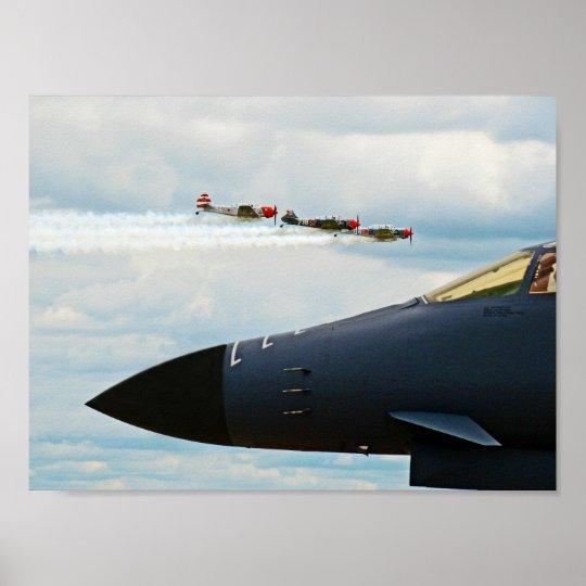Póster Bombardero B-1 y combatientes de WWII