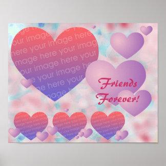 Poster bonito de la foto de los corazones