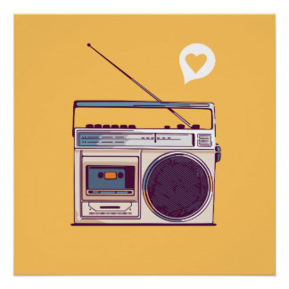 Póster Boombox de radio retro