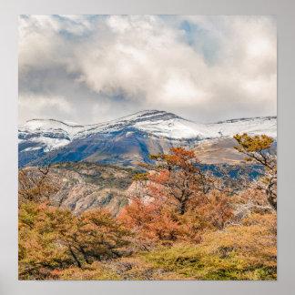 Póster Bosque y montañas Nevado, Patagonia, la Argentina