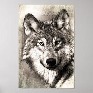 Póster Bosquejo hermoso del poster de la cara del lobo