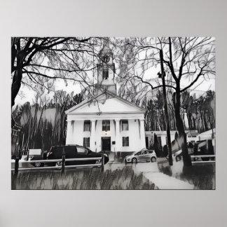 Póster Bosquejo negro y blanco de la iglesia de OldTown
