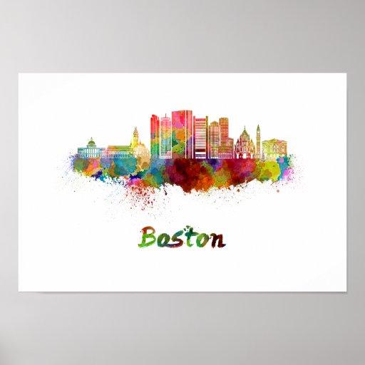 Póster Boston V2 skyline in watercolor