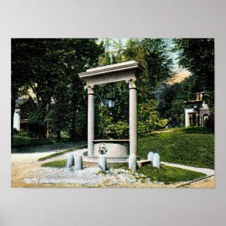 Póster Brattleboro, Vermont, la fuente del pozo, vintage